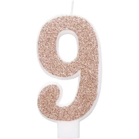 Rose Gold Number Nine Candle I Rose Gold Number Candles I My Dream Party Shop UK