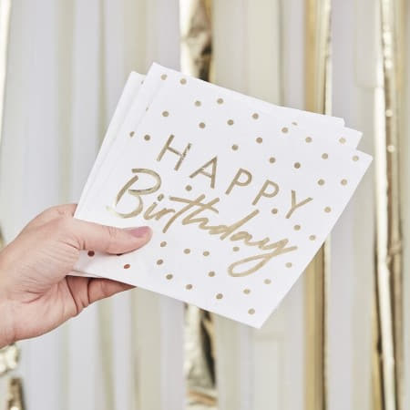 White and Gold Happy Birthday Napkins I Modern Birthday Party Supplies I My Dream Party Shop UK