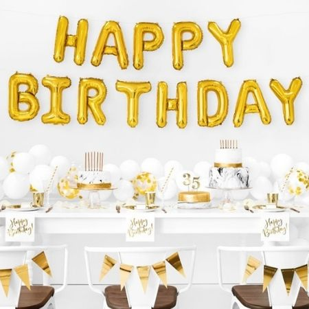 Gold Happy Birthday Balloon Bunting I Gold Party Supplies I My Dream Party Shop