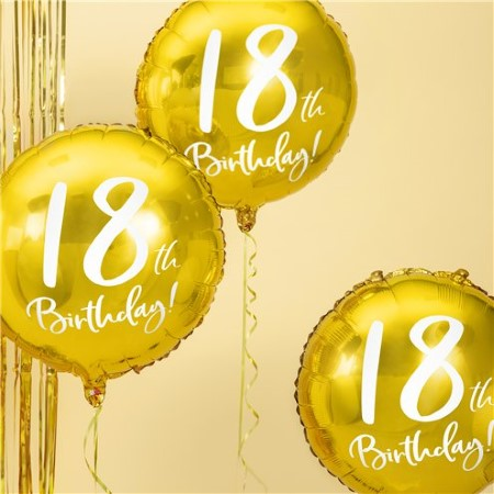 18th Birthday Gold Balloon I Milestone Birthday Party Decorations I My Dream Party Shop UK