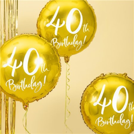 40th Birthday Gold Balloon I Milestone Birthday Party Decorations I My Dream Party Shop UK