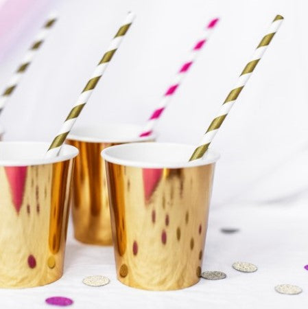 Gold Large Foil Cups I Pretty Gold Tableware & Decorations I My Dream Party Shop I UK