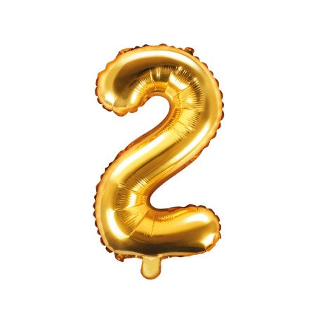 Small Gold Foil Number Two Balloons 14 inches I My Dream Party Shop I UK