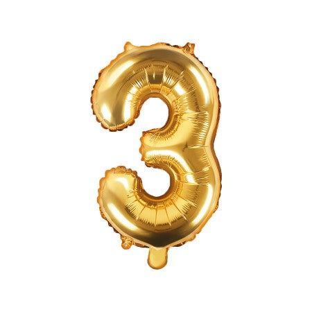 Small Gold Foil Number Three Balloons 14 inches I My Dream Party Shop I UK