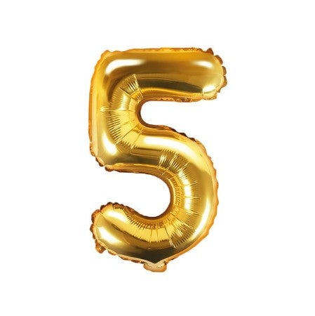 Small Gold Foil Number Five Balloons 14 Inches I My Dream Party Shop I UK