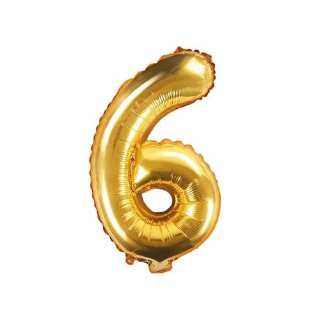 Small Gold Foil Number Six Balloons 14 Inches I My Dream Party Shop I UK