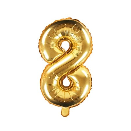 Small Gold Foil Number Eight Balloons 14 Inches I My Dream Party Shop I UK