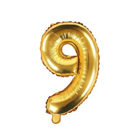 Small Gold Foil Number Nine Balloons 14 Inches I My Dream Party Shop I UK