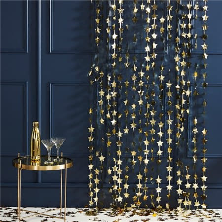 Gold Star Backdrop by Ginger Ray I Gold Metallic Foil Stars Hanging Decoration I UK