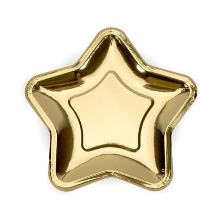 Gold Star Shape Paper Party Plates 23cm - My Dream Party Shop