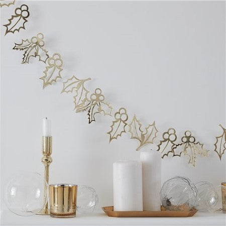 Gold Glitter Holly Garland I Modern Christmas Decorations UK