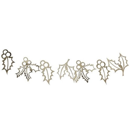 Gold Glitter Holly Garland I Stylish Christmas Decorations UK