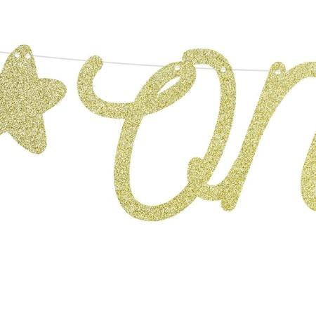 Gold Glitter One Banner I 1st Birthday Party Decorations I My Dream Party Shop I UK