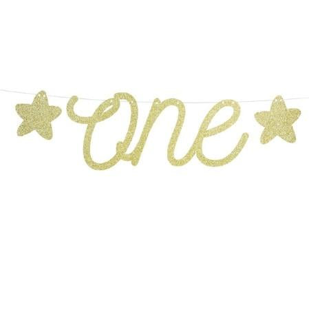 Gold Glitter One Garland I First Birthday Banner I 1st Birthday Decorations I UK