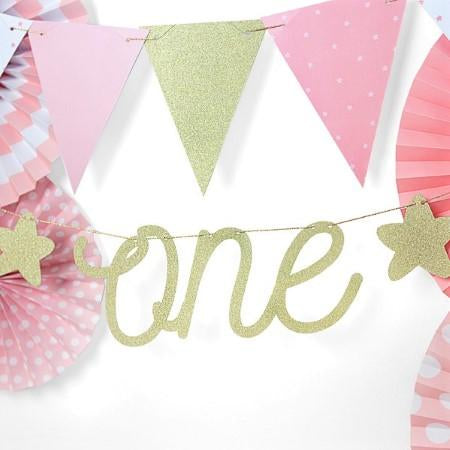 Gold Glitter One Garland I Modern First Birthday Decorations I My Dream Party Shop I UK