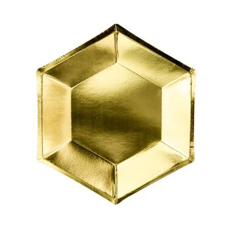 Hexagonal Gold Plates I My Dream Party Shop I UK