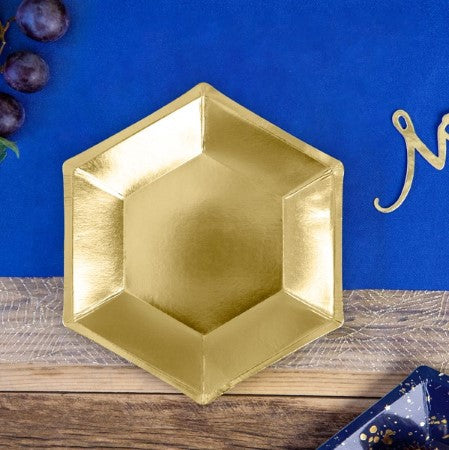 Hexagonal Gold Foil Party Plates I Modern Gold Party Supplies I UK