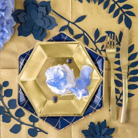 Hexagonal Gold Foil Plates I Christmas Party Tableware I UK