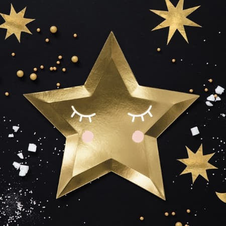 Cute Gold Star Plates Black Background Star Image I UK