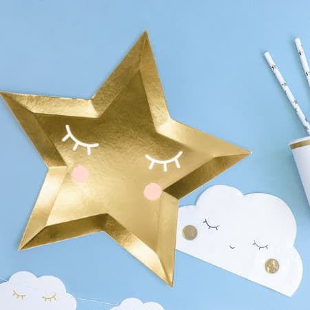 Cute Gold Star Plates Blue Cloud Image I UK