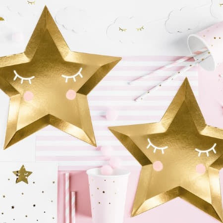 Cute Gold Star Plates Pink Background Image I UK