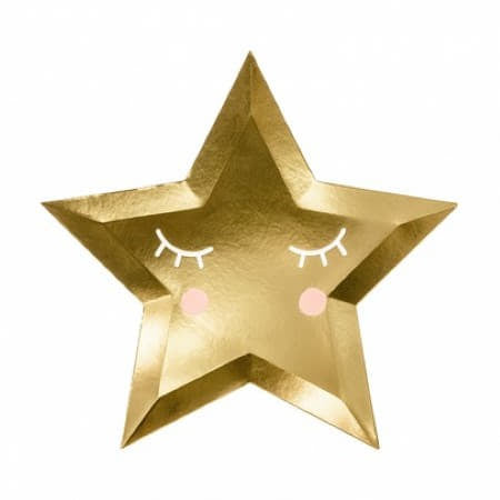Cute Gold Star Plates Baby Shower Tableware I UK