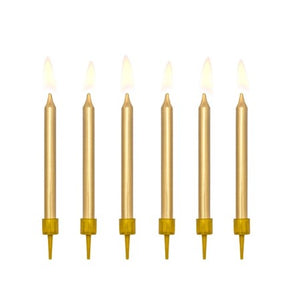 Metallic Gold Candles Set of 6 I My Dream Party Shop I UK