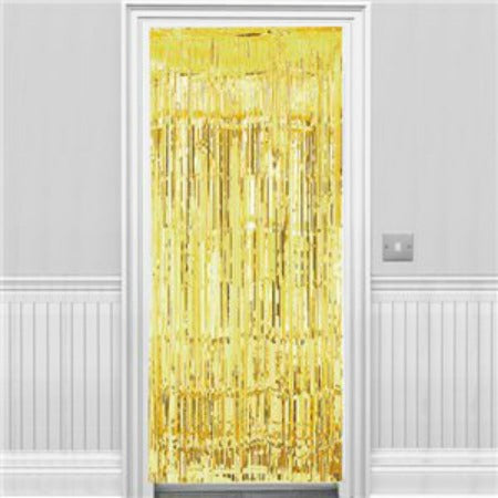 Gold Metallic Fringed Door Curtain - 2.4m - My Dream Party Shop