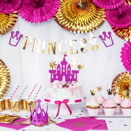 Gold Mirror Princess Crown Cupcake Toppers I My Dream Party Shop I UK