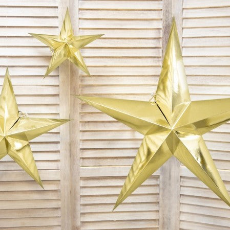 Gold Mirror Card 5 Point Star Decoration I My Dream Party Shop I UK