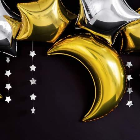 Metallic Gold Moon Balloon I Moon and Star Decorations UK