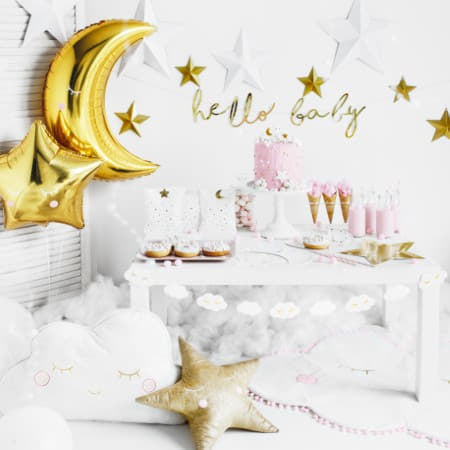 Gold Hello Baby Garland I Modern Baby Shower Decorations I My Dream Party Shop UK