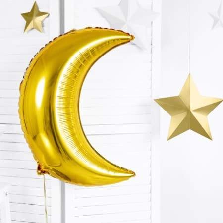 Metallic Gold Moon Balloon I Moon Decorations and Tableware I UK