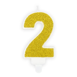 Gold Glittery Birthday Candle Numbers I 0