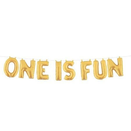 Gold One is Fun Balloon Bunting I First Birthday Party Decorations I My Dream Party Shop UK