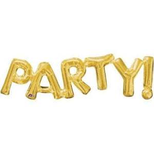 """Party!"" Giant Gold Foil Shape Phrase Balloon 33 Inches I My Dream Party Shop I UK"