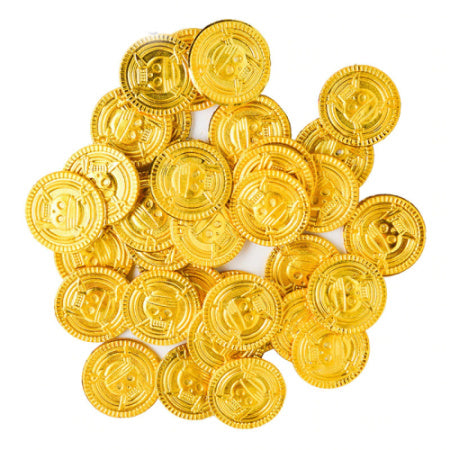Gold Plastic Pirate Coins I Cool Pirate Party Decorations & Tableware I My Dream Party Shop I UK