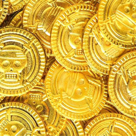 Gold Plastic Pirate Coins I Cool Pirate Party Bag Fillers I My Dream Party Shop I UK