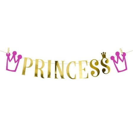 Gold Princess Garland I Modern Pink Princess Party Decorations I My Dream Party Shop UK