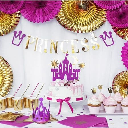 Gold Princess Garland I Pink Princess Party Supplies I My Dream Party Shop I UK