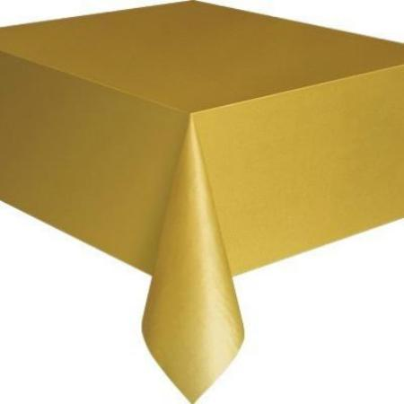 "Gold Rectangular Plastic Tablecover 54""x 108"" My Dream Party Shop"
