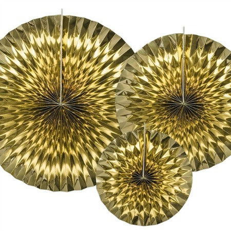 Metallic Gold Rosette Fans I Set of 3 I Modern Party Decorations I My Dream Party Shop I UK