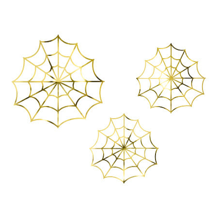 Gold Foil Spiderweb Halloween Decorations I Modern Halloween Party UK
