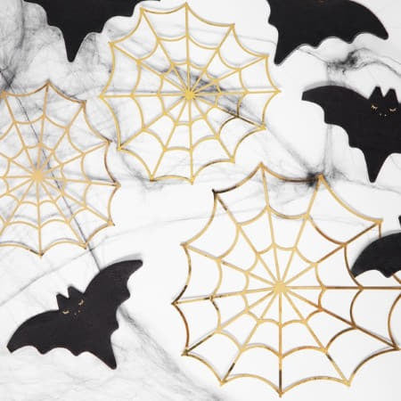 Gold Foil Spiderweb Halloween Decorations I Gold Halloween Party UK
