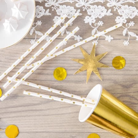 Gold Star Straws I Modern Christening Party Supplies I My Dream Party Shop I UK