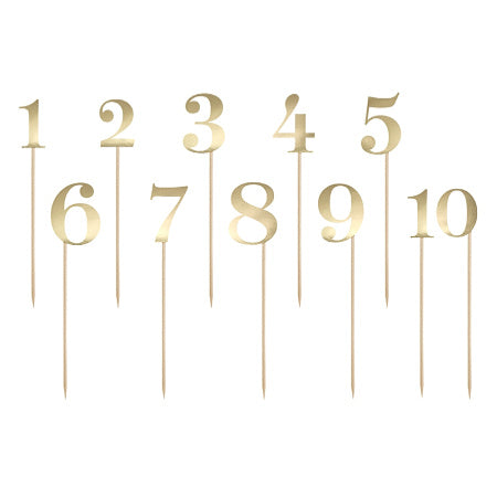 Set of 10 Gold Numbers I Table Numbers or Cake Toppers I Party Accessories I UK