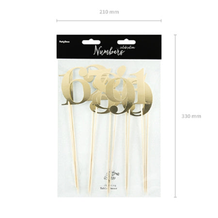 Gold Mirror Table Numbers on Sticks - My Dream Party Shop