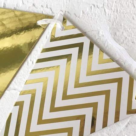 Gold and White Chevron Bunting I Stunning Gold Decorations I UK