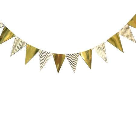 Gold and White Foil Bunting I Stunning Gold Decorations I UK