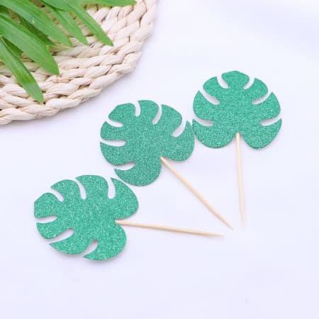 Green Glittery Monstera Palm Leaf Cake Toppers I Tropical or Luau Party I My Dream Party Shop I UK